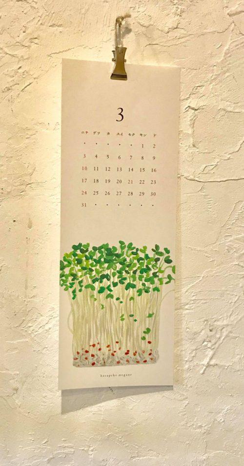 はらぺこねがめ 食材のカレンダー2019(クリップ付き)